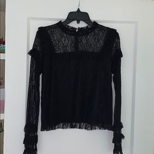 Forever 21 Black Lace Ruffle Shirt